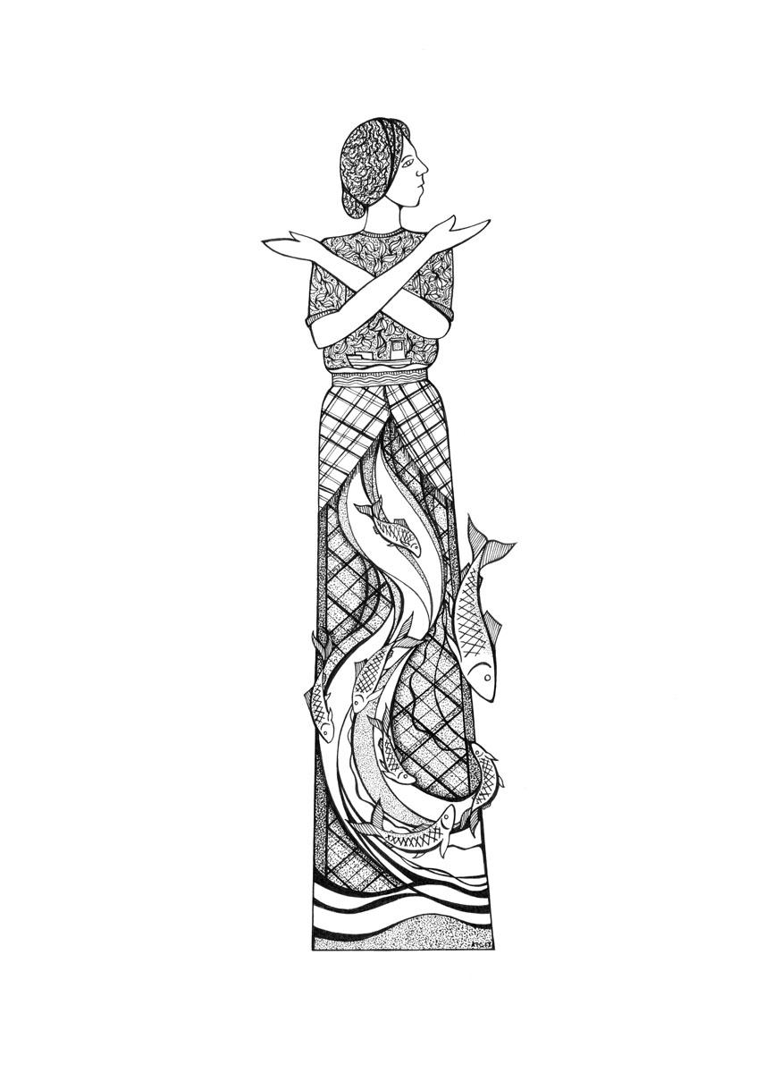 Cross-Stich Fisherwoman