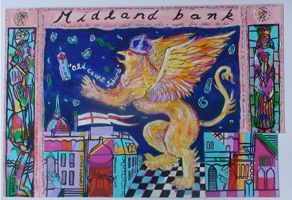 Midland bank mural Sketch 1989