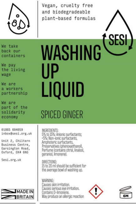 Washing Up Liquid - Spiced Ginger £0.40/100ml