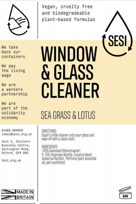 Window & Glass Cleaner - Sea grass & Lotus  £0.40/100ml