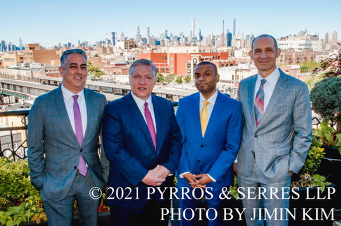 Photo of the attorneys at Pyrros & Serres LLP, a law firm in Astoria, Queens, New York City. Photo taken 6/23/21.