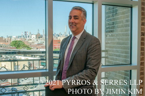 Photo of Nicholas Rupwani, an attorney at Pyrros & Serres LLP, a law firm in Astoria, Queens, New York City. Photo taken 6/23/21.