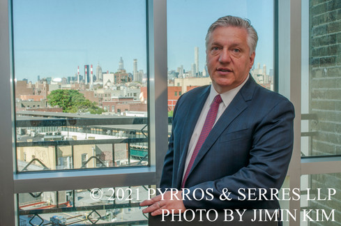 Photo of Michael Pyrros, an attorney at Pyrros & Serres LLP, a law firm in Astoria, Queens, New York City. Photo taken 6/23/21.