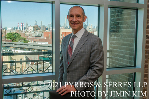 Photo of Michael Serres, an attorney at Pyrros & Serres LLP, a law firm in Astoria, Queens, New York City. Photo taken 6/23/21.