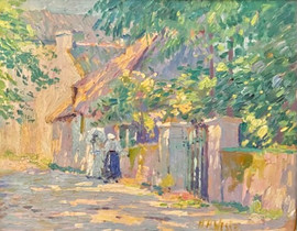 """Herman Henry Wessel (American, 1878-1969) """"Two Women on a Country Lane"""" Oil on board 11 x 14 inches Signed lower right: H.H. Wessel  P.O.R."""