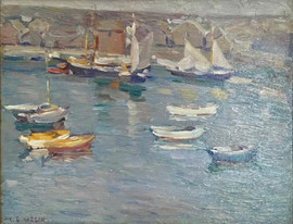 """Charles S. Kaelin  (American 1858–1929) """"Harbor with Dinghies and  Sailboats"""" Oil on panel 11 x 14 inches  P.O.R."""