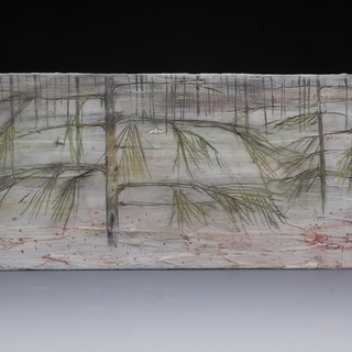 Carol Snyder (Contemporary) 'Reindeer Moss, Welch-Dickey', 2021  Wall piece: Porcelain tile, colored porcelain slips, inlaid linework, mounted on plexiglass 5 1/4 h x 15 1/4w inches  $800