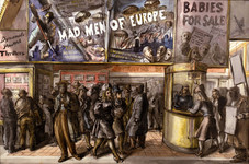 """Reginald Marsh """"Mad Men of Europe"""", 1940 Watercolor on paper 26 1/4 x 39 3/4 inches Signed, dated and titled lower right: Reginald Marsh, October 1940 / the Selwyn Theatre"""