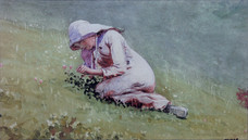 """Winslow Homer """"Girl Picking Clober (Houghton Farm)"""", c. 1878 Watercolor on paper 7 x 12 3/4 inches Signed lower right: Homer"""