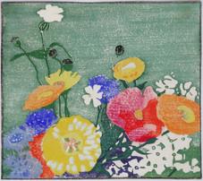"Edna Boies Hopkins ""Garden Flowers"", c. 1915 Color woodcut 8 x 9 inches Unsigned, unnumbered Cat. Raisonne no. 35"