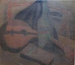 Grace Martin Taylor Woodblock/ Side 2 Composition No. 3 Block cut 1943 12 x 13 3/4 inches  On Side 1 of this Woodblock: The Mimic  $4,000.00