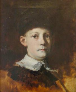 "Frank Duveneck (1848 –1919) ""Charles Duveneck (Young Man in Fur Hat)"" 16 1/2 x 13 3/8 inches  P.O.R."