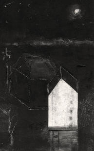 """Alice Carpenter  """"Landscape 20.10"""", 2020 Subtraction monotype with gouache, sgraffito and collage 5 ½ x 3 ½ inches $750"""