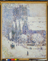 """Childe Hassam """"Calvary Church in the Snow"""", 1893 Oil on canvas 22 x 18 inches Signed and dated lower right: Childe Hassam 1893"""