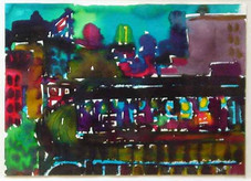 """Romare Bearden """"Nite Station"""", c. 1985 Watercolor on paper 14 x 19 1/2 inches signed upper right: Romare B."""