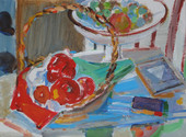 """""""Still Life with Red Peppers"""", 1988 Acrylic on paper 15 x 20 inches      $1,800"""