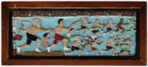 """Elijah Pierce """"Father Time Racing"""", 1959 Painted bas relief woodcarving 13 x 29 inches"""