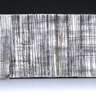 Carol Snyder (Contemporary) 'Twilight', 2021  Wall Piece   Porcelain tile, colored porcelain slips mounted to plexiglass 4 1/ 2h x 24w inches  Sold