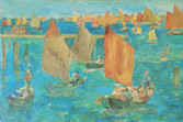 """Maurice B. Prendergast """"The Lagoon, Venice"""", 1898 Watercolor and pencil 11 1/8 x 15 3/8 inches Signed and dated lower right: Maurice Prendergast 1898"""