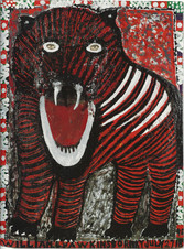 """William L. Hawkins """"Tasmanian Tiger"""", c. 1986 Enamel paint, nailed pine and compsition on masonite 60 x 45 inches"""