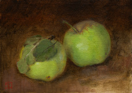 """Mary Jane Ward 'Two Green Apples' Oil on linen. 5"""" x 7"""" 2019  $570"""