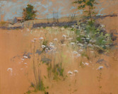 """John H. Twachtman """"Hillside"""", c. 1889-1891 Pastel on board 15 x 18 inches Signed lower right: J.H. Twachtman Sold"""