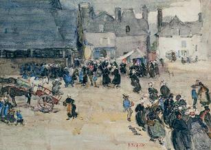 "Alice Schille (1869-1955) ""A Gray Market (Brittany)"", circa 1908 Watercolor 10 ½ x 14 ½ inches Signed lower right: A. Schille   Private Collection"