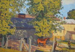 "Robert Chadeayne (1897-1981) ""(Horse Grazing in Dappled Sunlight)"", c. 1930 Oil on panel 14 x 20 inches  P.O.R."