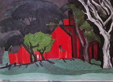 """Oscar Bluemner """"Poor Farm"""", 1924 Watercolor on paper 9 1/2 x 12 1/2 inches Signed lower left: OBluemner Titled lower center: The Poor Farm"""