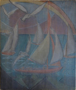 Sails and Gulls Grace Martin Taylor Woodblock/ Side 1 Block cut 1930 13 3/4 x 11 7/8 inches  Side 2 of this Woodblock: Star Gazing  (Nudes, Moon Glow) Block cut 1928 13 3/4 x 12 inches  $4,500.00