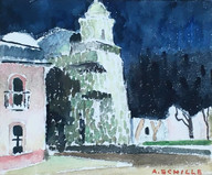 """""""Dusk, Oaxaco"""", c.1934  Watercolor on paper 5 ⅛ x 6 1⅛ inches Signed lower right: A. Schille P.O.R."""