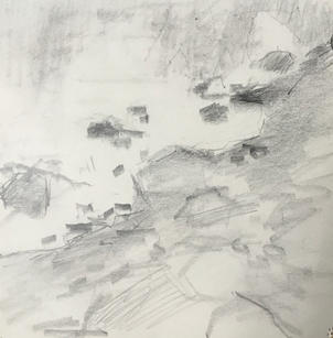 """Neil Riley """"Rivers Edge"""", 2014 Graphite on paper 5 x 5 inches $380"""