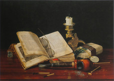 """Claude Raguet Hirst """"An Interesting Book"""", 1890 Watercolor on paper 10 1/4 x 14 1/4 inches Signed lower right: Claude Raguet Hirst"""
