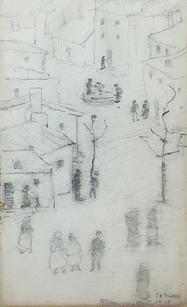"""Ray Kinsman-Waters (1887-1962) """"Le Mans Street Scene"""", 1919 Drawing 8 x 5 inches  P.O.R."""