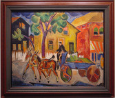 """William Sommer """"Blue Dairy Cart"""", c. 1917-1918 Oil on board 16 1/2 x 23 1/2 inches Estate stamped lower right: Sommer"""