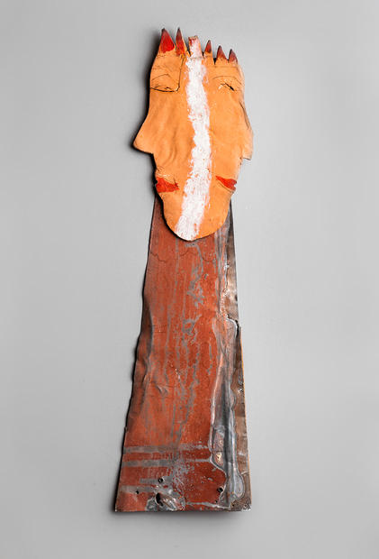 Tamara Jaeger 'King/Queen', c.1990 Ceramic, found metal and paint  18 ½  x 5 ½  x ½  inches      $1,200
