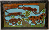 "Elijah Pierce ""Safari"", 1940 Painted bas relief woodcarving 13 x 22 inches"