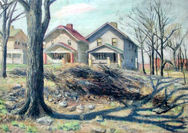 """Emerson Burkhart (1905-1969) """"Houses, East Broad Street"""", 1943 Oil on canvas 20 x 24 inches  P.O.R."""