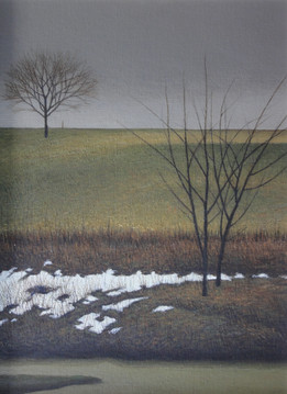 Alan Gough 'Field March', 2020 Oil on panel 12 x 9 inches  $1,000
