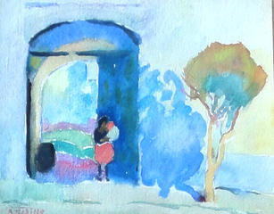 """Alice Schille (1869-1955) """"Mother and Child in Archway, Mexico"""", Circa 1923  Watercolor 4 ⅝ x 5 ¾ inches Estate stamped: lower left: A. Schille   P.O.R."""