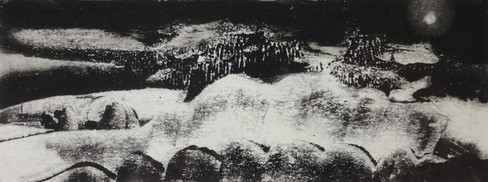 Alice Carpenter 'February Snow Moon', 2017 Monotype on paper. 2 x 5 ¼ inches  $625