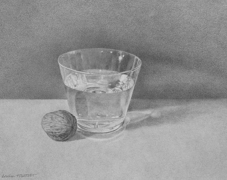 """Lowell Tolstedt """"Glass of Water with Walnut"""", 1985 Graphite 5 3/4 x 7 3/4 inches  $2,350"""