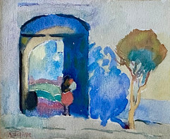 Alice Schille (American, 1869-1955) 'Mother and Child in Archway, Mexico', c.1923  Watercolor 4 ⅝ x 5 ¾ inches Estate stamped: A. Schille  P.O.R.