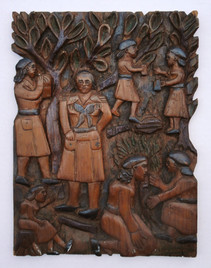 """Elijah Pierce """"Girl Scouts"""", c. late 1940s Painted bas relief woodcarving 13 x 9 3/4 inches"""