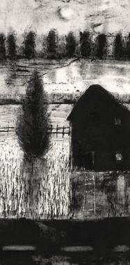 "Alice Carpenter ""Landscape 20.6"", 2020 Monotype with gouache and scaffito 8 1/8 x 4 1/8 inches  $850"