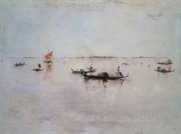 """""""To the Lido, Venice"""", 1880 Watercolor 10 3/4 x 14 2/4 inches Signed, dated, and inscribed upper right: Blum 1880 Venice. Inscribed lower left: To Lido P.O.R."""