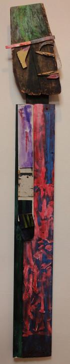 Tamara Jaeger 'My Voodoo Man' 1998 Mixed media assemblage 65 x 14 x 1 inches  $3,500