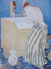 """Mary Cassatt """"Woman Bathing (La Toilette)"""", c. 1891 Drypoint, soft-ground etching and aquatint 14 1/2 x 10 7/8 inches signed and inscribed in pencil lower right"""
