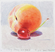 """Lowell Tolstedt """"Study - Cherry with Peach"""", 2005 Colored pencil 4 1/2 x 4 3/4 inches  $1,450"""