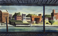 """Hughie Lee-Smith """"Industrial Scene"""", 1953 Watercolor 15 1/2 x 22 1/4 inches Signed lower right: Lee-Smith '53"""